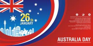 Stilvoller Flieger, mit Australien-Flaggen-Art und Wellenentwurf vektor abbildung