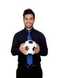 Stilvoller Fußballspieler mit einem Ball Stockbild