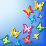 Stilvoller Hintergrund mit bunten Schmetterlingen 3d Stockfotografie