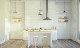 Stilvoller Kücheninnenraum mit kochender Insel lizenzfreies stockfoto