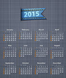 Stilvoller Kalender für 2015 auf Leinenstruktur Stockbilder