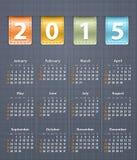 Stilvoller Kalender für 2015 auf Leinenstruktur mit ledernem insertio Stockfotografie