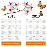 Stilvoller Kalender mit Blumen und Basisrecheneinheiten stock abbildung