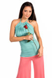 Stilvoller Latina mit Rose stockfoto