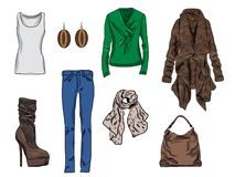 Stilvoller Modesatz des Vektors von Frau ` s Herbst, Frühling oder Winterkleidung und -Zubehör Zufällige bunte Ausstattung mit St Vektor Abbildung
