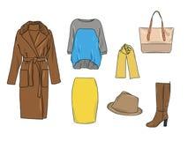 Stilvoller Modesatz des Vektors von Frau ` s Herbst, Frühling oder Winterkleidung und -Zubehör Zufällige bunte Ausstattung mit Pu Vektor Abbildung