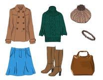 Stilvoller Modesatz des Vektors von Frau ` s Herbst, Frühling oder Winterkleidung und -Zubehör Zufällige bunte Ausstattung mit St Lizenzfreie Abbildung