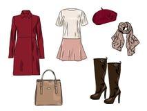 Stilvoller Modesatz des Vektors von Frau ` s Herbst, Frühling oder Winterkleidung und -Zubehör Zufällige bunte Ausstattung mit Kl Lizenzfreie Abbildung