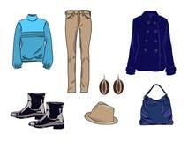 Stilvoller Modesatz des Vektors von Frau ` s Herbst, Frühling oder Winterkleidung und -Zubehör Zufällige bunte Ausstattung mit Je Stock Abbildung