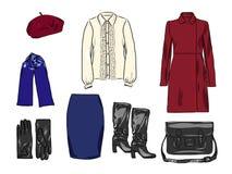 Stilvoller Modesatz des Vektors von Frau ` s Herbst, Frühling oder Winterkleidung und -Zubehör Zufällige bunte Ausstattung mit Ro Stock Abbildung