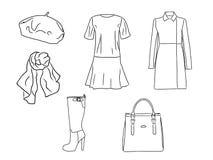 Stilvoller Modesatz des Vektors von Frau ` s Herbst, Frühling oder Winterkleidung und -Zubehör Zufällige Schattenbildausstattung  Stock Abbildung