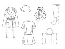 Stilvoller Modesatz des Vektors von Frau ` s Herbst, Frühling oder Winterkleidung und -Zubehör Zufällige Schattenbildausstattung  Lizenzfreie Abbildung
