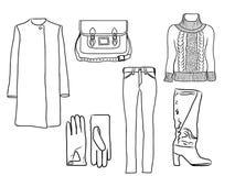 Stilvoller Modesatz des Vektors von Frau ` s Herbst, Frühlings- oder Winterkleidung und Zubehör, Schattenbild Zufällige bunte Aus Lizenzfreie Abbildung