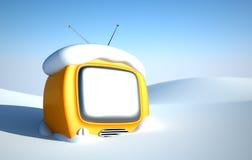 Stilvoller Retro- Fernsehapparat im Schnee Stockfoto