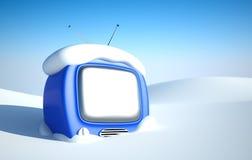 Stilvoller Retro- Fernsehapparat im Schnee Stockfotografie