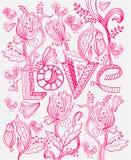 Stilvoller rosafarbener Blumenhintergrund mit LIEBE Lizenzfreies Stockbild
