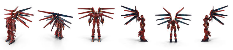 Stilvoller roter Roboter lokalisiert auf weißer Illustration 3D Lizenzfreie Stockfotos