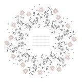 Stilvoller runder Rahmen mit Kamillenblumen und Blättern O Stockbilder