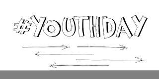Stilvoller Schwarzweiss-Vektortext Jugend-Tag auf weißem Hintergrund Illustration in der komischen Art Stockbild