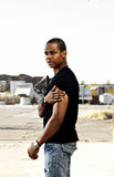 Stilvoller stattlicher Afroamerikaner-Mann Stockfoto