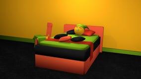 Stilvolles Bett in den mutigen Farben mit Schlafen Emoticon vektor abbildung