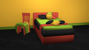 Stilvolles Bett in den mutigen Farben mit Schlafen Emoticon lizenzfreie abbildung