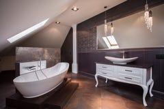 Stilvolles braunes Badezimmer stockbilder