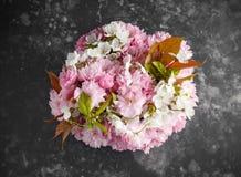 Stilvolles Braut-bouqet von zarten wei?en und rosa Kirschbl?te-Blumen lizenzfreie stockfotografie