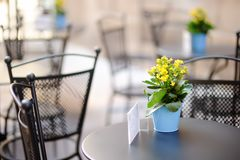 Stilvolles Café im Freien lebesmittelanschaffung lizenzfreies stockbild