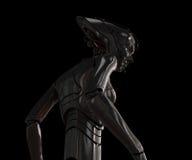 Stilvolles Cybermädchen auf Schwarzem Lizenzfreies Stockfoto