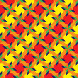 Stilvolles dekoratives nahtloses Muster mit verschiedenen geometrischen Formen von gelben, orange, grünen, roten und blauen Schat Stockbild