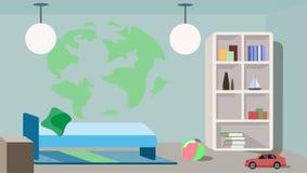 Stilvolles Design eines Kind-` s Schlafzimmers lizenzfreie abbildung