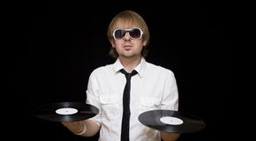stilvolles DJ mit Vinylsätzen Stockbilder