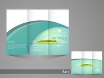 Stilvolles dreifachgefaltetes Flieger-, broucher- oder Katalogdesign für Ausflug und Reise Lizenzfreie Stockfotografie
