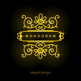 Stilvolles elegantes Monogramm, Monolinie Kunstdesign Stockfotografie