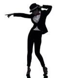 Stilvolles Frauentänzer-Tanzenschattenbild Stockfoto