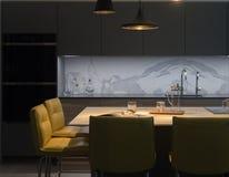 Stilvolles Küchen-Restaurant Stockbild