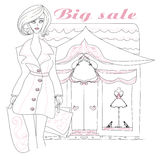 Stilvolles Mädcheneinkaufen, Gekritzelillustration Stockbild