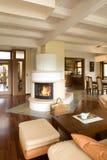 Stilvolles modernes Wohnzimmer mit Kamin lizenzfreies stockfoto