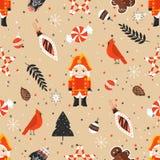 Stilvolles nahtloses Muster der frohen Weihnachten mit Nussknacker und Spielzeug lizenzfreie abbildung