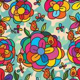 Stilvolles nahtloses Muster des bunten Vogels der Blume Stockbild