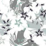 Stilvolles nahtloses Muster mit Blumen, Blättern und dekorativem ele stock abbildung