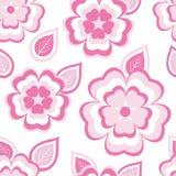 Stilvolles nahtloses Muster mit Kirschblüte und Blättern Stockfoto