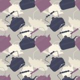 Stilvolles nahtloses Muster mit Retro- Teekannen Stockfotografie
