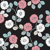 Stilvolles nahtloses Muster mit schönen Rosen und Blättern Stockbild