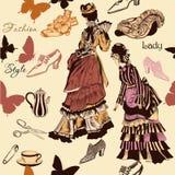 Stilvolles nahtloses Tapetenmuster mit altmodischer Frau Stockfotografie