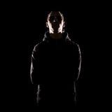 Stilvolles Portrait des Mannes über dunklem Hintergrund Stockfoto