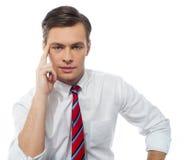 Stilvolles Portrait eines stattlichen Unternehmensleiters lizenzfreies stockfoto