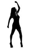 Stilvolles Schattenbildfrauentanzen glücklich Lizenzfreies Stockfoto