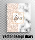 Stilvolles Tagebuch mit einem schönen Druck - Leopard und Marmor stock abbildung